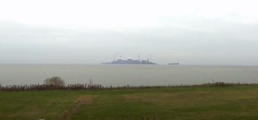 Uitzicht Gaasterland op het IJsselmeer met een geprojecteerd zandwin eiland.