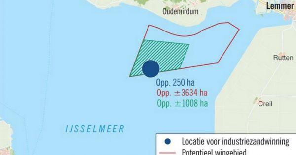 Kaart met de voorgestelde zandwin locatie.